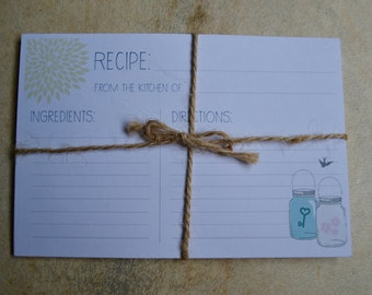 "Rustic Mason Jar Recipe Cards - bridal shower card, recipe card, 4-1/2"" x 6"", set of 12, bird recipe card, rustic kitchen accessory"