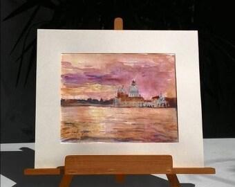 Original Watercolor  VENICE  / RossoVenezia art /Watercolor gift
