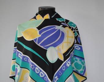 Vintage LOREDANO PRINTED SILK scarf ...........(293)