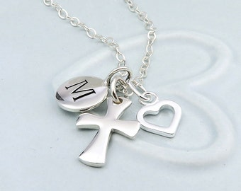 Personalized Silver Cross Necklace, Initial Jewelry, baptism gift, faith necklace, sterling silver,