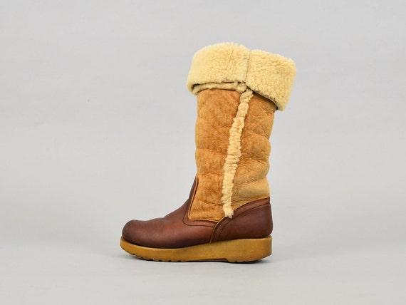 Sheepskin Boots 6 70's US Snow Platform SnqaxHw4A