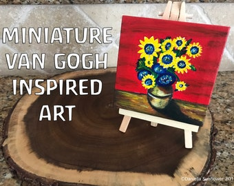 Van Gogh inspired Sunflower miniature oil painting on canvas 4x4 and easel (Original)