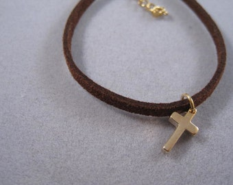 Cross jewelry, charm suede bracelet, gold cross pendant, tiny CZ charm, Bracelet, confirmation gift
