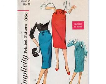"""One Yard Skirt 1950s Skirt Pattern Wiggle Skirt Pattern Pencil Skirt Pattern SIMPLICITY 2703 waist 24"""" Slim Skirt Pattern Rockabilly Skirt"""