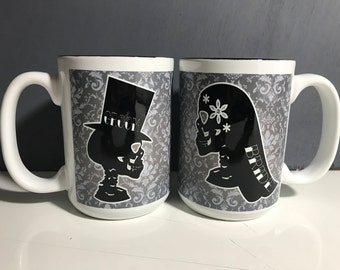 Skull til death do us part mug set