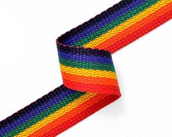 Rainbow polypropylene webbing, 1inch by 2-Yards, JUL-140123