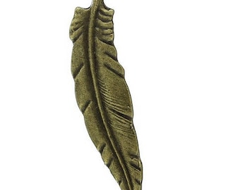 Set of 10 (T18) Bronze feather charms