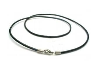 """Black Genuine Leather Cord Necklace Choker with Coil Clasp ( 2mm,  14"""", 16"""" , 18"""", 20 or  24"""", Black or Brown)  R25"""
