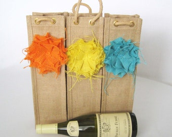 Wine Bottle Tote - Burlap Wine Bottle Tote - Reusable Burlap Gift Bag - Eco Friendly Fabric Gift Wrap - Jute Wine Gift Wrap - Spirits Gift