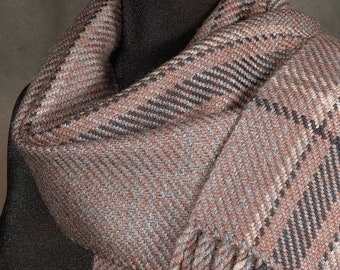 Brown scarf / taupe scarf / handwoven scarf / merino wool scarf / man's scarf /woman's scarf