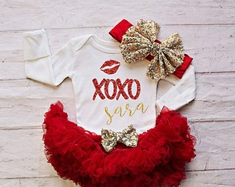 Baby's Valentines Day Outfit, Girls Valentines Day Clothing,My First Valentines Bodysuit,Baby's First Valentines Outfit,Red Valentines Dress