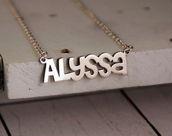 Customized Name Jewelry • Name Jewelry • Personalized Name Necklace • Everyday Jewelry • Cutout name • MOTHERS DAY GIFT