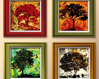 Four Seasons Art Prints - Original Art 5 to 12 Inch Square Art Prints - Spring, Summer, Fall and Winter Giclee Print - Tree of Life