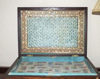 Victorian Mahogany Sewing Box with Inlaid decoration