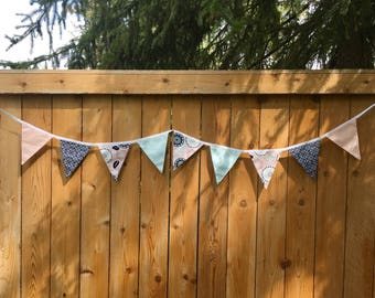 Girls fabric garland. Pennant garland. Fabric flag banner. Party decor. Fabric bunting. Photo prop. Playroom decor. Bedroom decor.