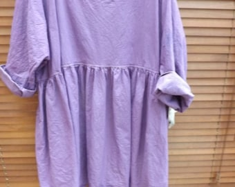 RITANOTIARA Georgia European Linen Prairie Purple Oversized Top All SIzes Oversize Mid West Prairie Shabby Chic Boho Lagenlook long sleeves