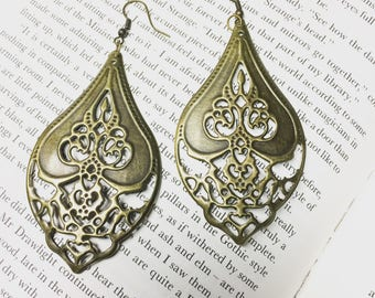 Ornate antiqued bronze earrings