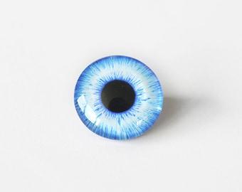 20mm handmade glass eye cabochon - light blue eye - standard profile