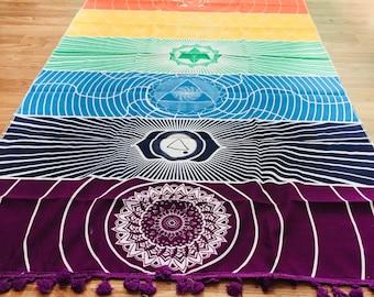 Bohemian 7 chakra throw/tapestry - vibrant and energizing {yoga, meditate}