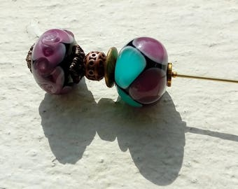 Large pin with two Lampwork Glass Beads