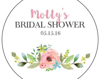 floral bridal shower stickers, watercolor flower bridal shower stickers, custom flower bridal shower labels, pink and blue flower stickers