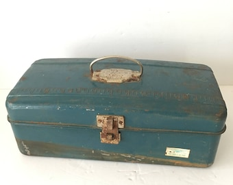 Metal Tackle Box Blue Union Made in USA Fishing Gear Embossed Ruler Across Top Rusty Shabby Blue