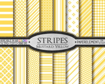 Mustard Yellow Striped Digital Paper Pack - Stripes and Diamond Patterned Paper for Digital Scrapbooking