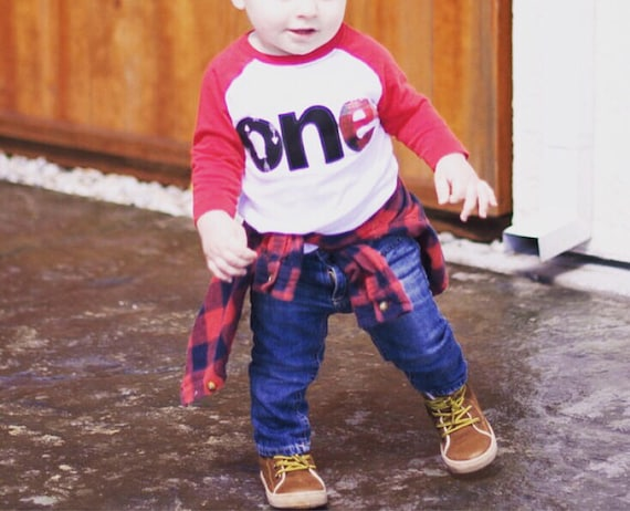 buffalo plaid flannel one raglan, lumberjack 1st birthday shirt, baby raglan, baby boy 1st birthday, forest birthday, camping birthday, red
