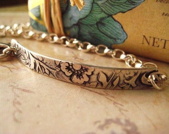 Sterling Bracelet, Floral Bar, Sterling Silver, Rolo Chain, Hand Stamping, candies64