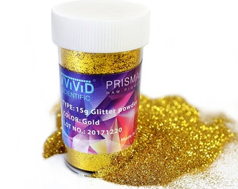 Raw Pigment Paint Additives Particles (2 Units) | Gold Metallic Glitter Pigment Powder 2 x 15g Jar | Non-Toxic Cosmetic Grade | Prisma65