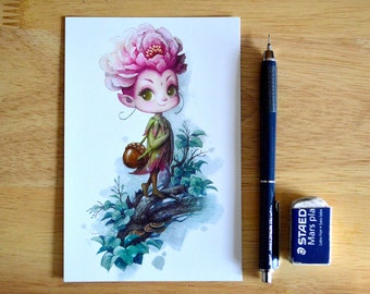 "Peony Fairy Illustration 4"" x 6"" Postcard"