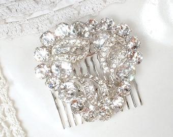 Vintage EISENBERG Crystal Wedding Sash Brooch or Bridal Hair Comb, Small Round Clear Pave Rhinestone Dress Pin/Hair Accessory Hollywood Glam