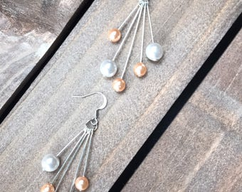 Drop Pearl Earrings - Wedding Gift For Her - White&Peach Pearls - Silver Wedding Earrings - Handmade Jewelry Gift - Something New For Bride