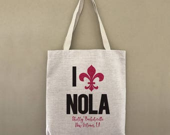 Custom Bachelorette Tote Bag NOLA New Orleans Customizable Personalized Gift For Her Party Favors Party Mardi Gras Beads Shopping Bulk