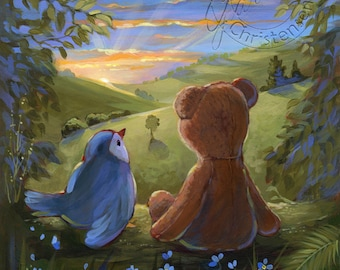 Childrens Art -Teddy Bear Bluebird Birdie Sunrise Flowers Countryside - Archival Print - Nursery Art