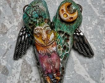 Owl pendant, polymer clay jewelry, Wiccan jewelry, owl totem, handmade, heart with wings