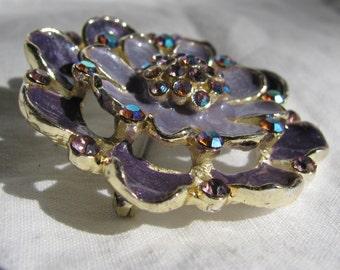 "Retro 1.75"" Eye Catching Shades of Purple Enamel and Aurora Borealis Rhinestone Layered Flower Brooch"