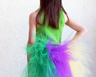 "Mardi Gras Bustle - Sewn 3 Tiered Tutu Bustle - Detachable - 16"" long - fits all sizes"