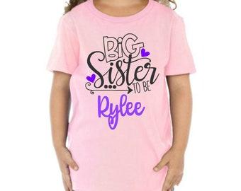 big sister - shirt - announcement shirt - gender reveal - toddler - big sister gift - baby shower - tshirt - bodysuit