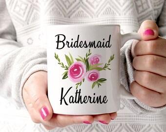 Bridesmaid Mug Bridesmaid Proposal - Bridesmaid Gift Mug - Bachelorette Party Mug - Maid of Honor Mug - Watercolor Floral Mug - Wedding Mug