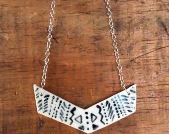 Porcelain Necklace: Pattern Chevron