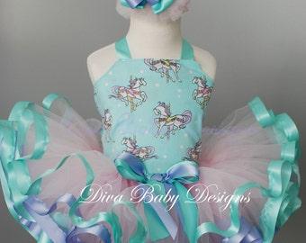 Girls birthday dress -Carousel horses and cupcakes two piece reversible corset birthday ribbon trim tutu set in pink, aqua and lavender