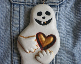 Halloween Ghost Pendant Valentines day Ghost jewelry Art Ghost Necklace Hand carved painted OOAK Halloween jewelry Halloween pendant
