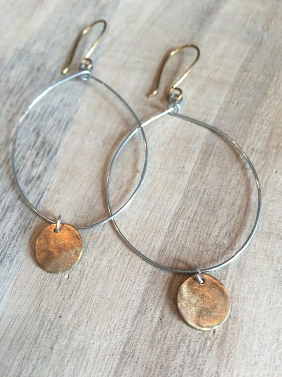Hoops with mixed metals, Hoop Earrings, Gold and Silver Earrings,