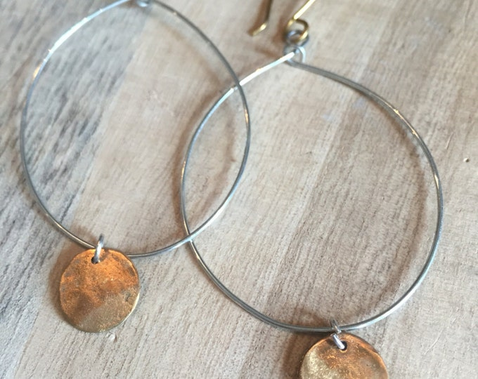 Hoops with mixed metals, Hoop Earrings, Gold and Silver Earrings,