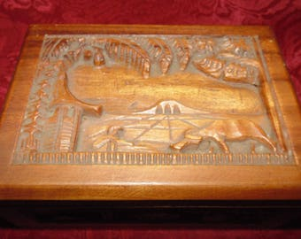Interesting Vintage Asian Hand Carved Cigarette Box