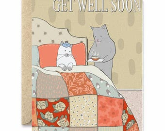 Get Well Soon - Cat Greeting Card