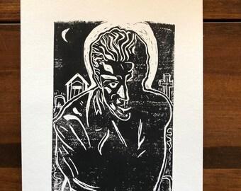 Saint Spike - Original Blockprint inspired by Buffy the Vampire Slayer