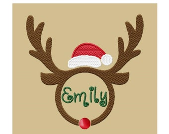 Personalised Christmas Reindeer Solid Fill Machine Embroidery DESIGN NO. 543