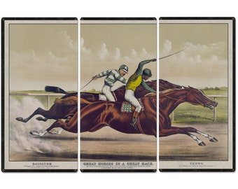 """Salvator VS Tenny, Currier & Ives 1890, Horse Races, Horses, Racing, Triptych Metal Sign, Americana, Wall Decor, Wall Art 54""""x36"""""""